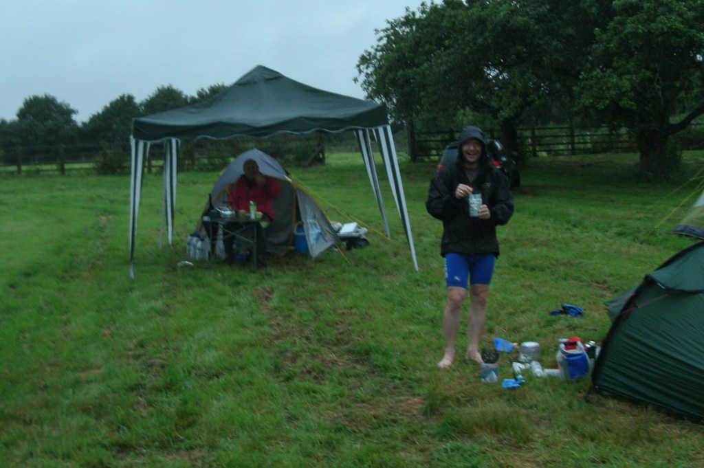 Wet morning, pre-gust gazebo, and a Jimmy cooking spam...