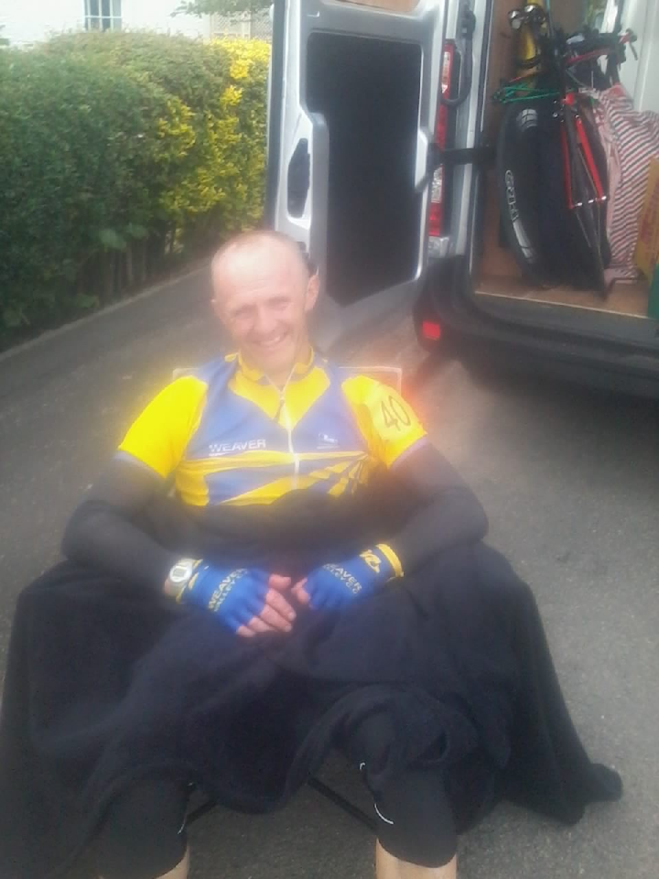 """it all went a bit blurry during the night"" said Dave. Also after the event by the looks of it. Dave sits down with his comfort blanket, whilst his legs are safely stowed in the van ready for next year..."