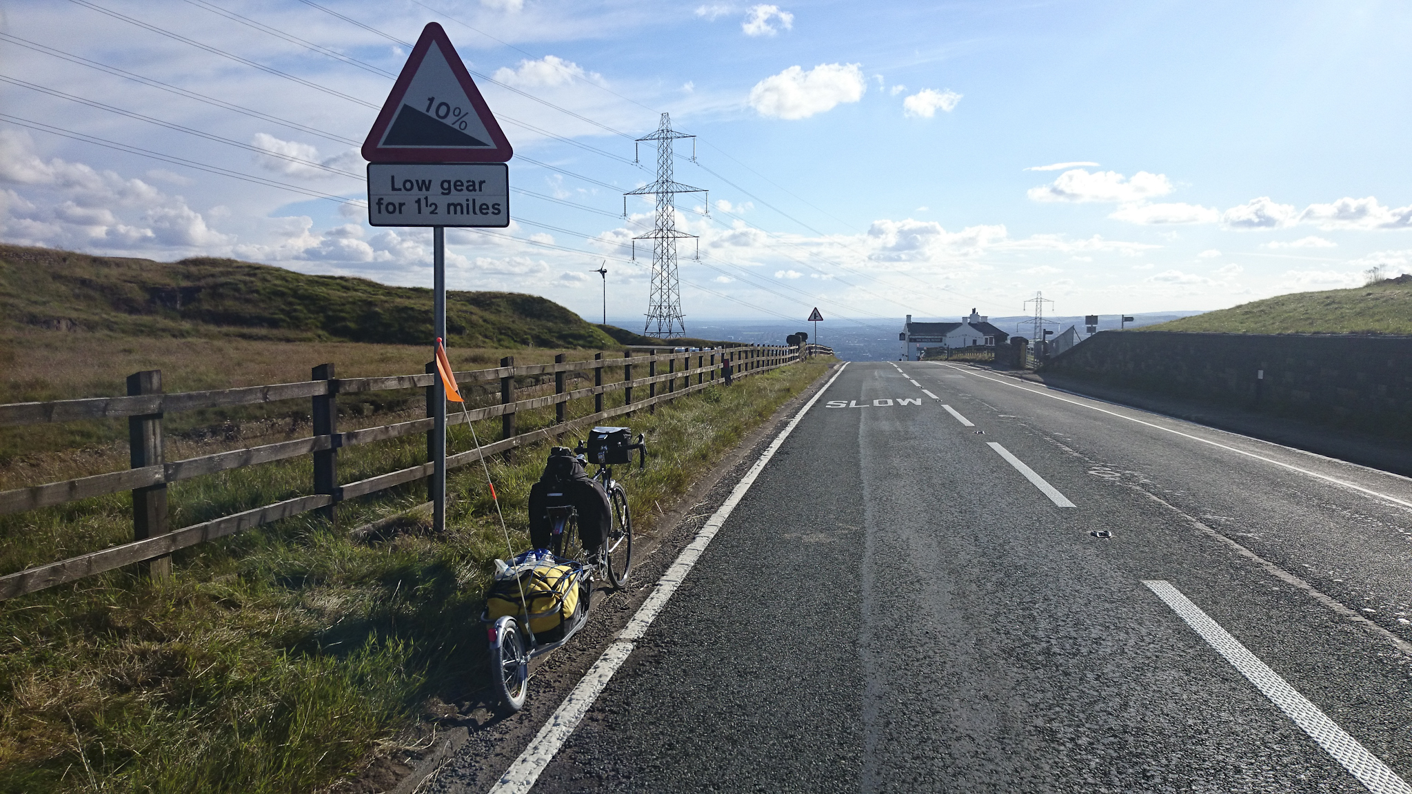 The top of the last big hill before descending to Littleborough, Rochdale, Manchester, Warrington and then home!
