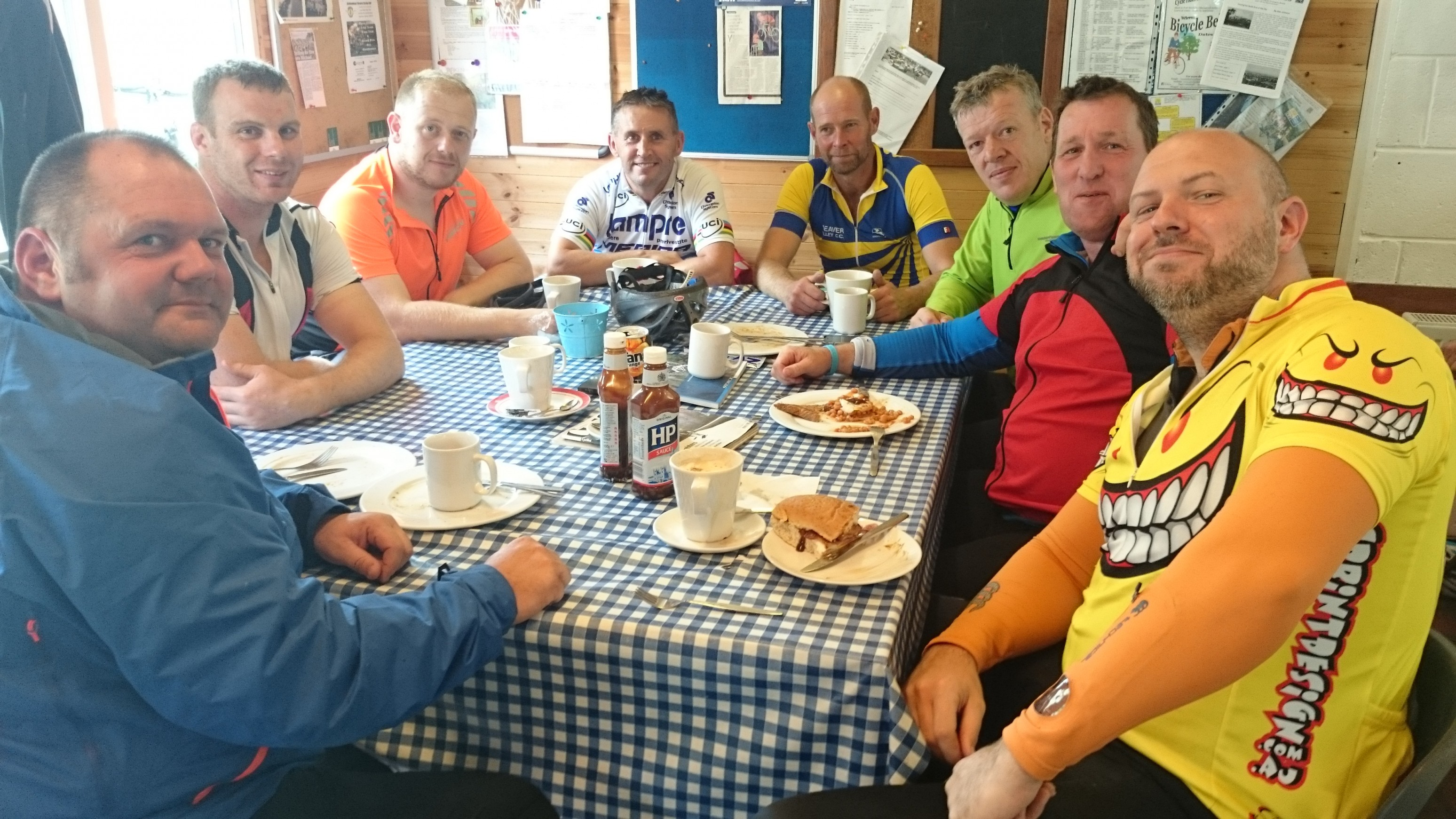 The guys from Winnington Park RC, enjoying the finest fayre from Eureka cafe at the mills.