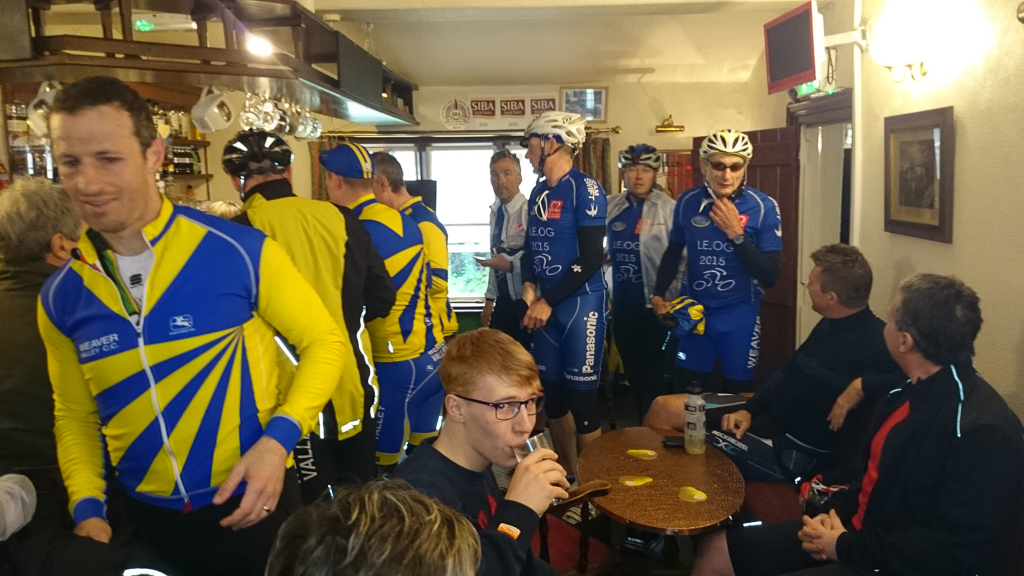Ah, here they are, also piling into the tiny pub. Now bursting at the seams with cyclists.