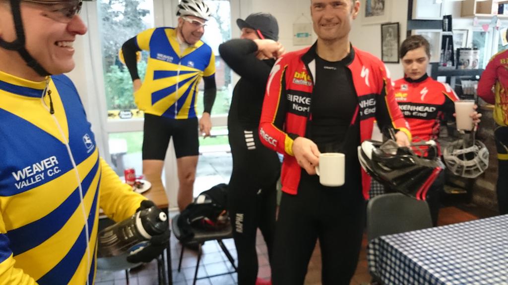 Birkenhead North End look on bemused. Steve looks amused. Matt adjusts braces.