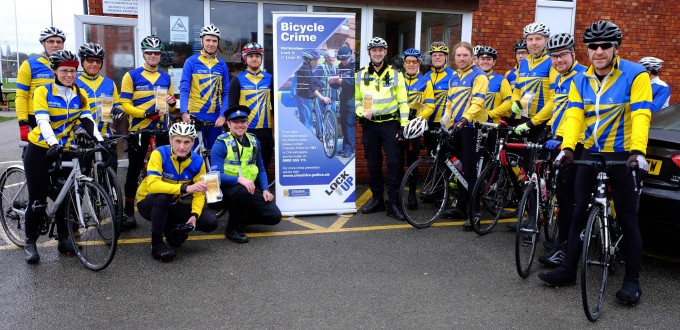 Here we are with PC Neil Wharmby, helping us to protect our bikes!
